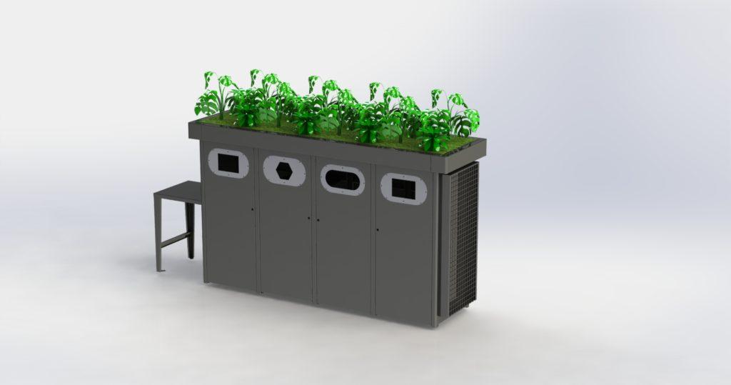 cache poubelle quadruple